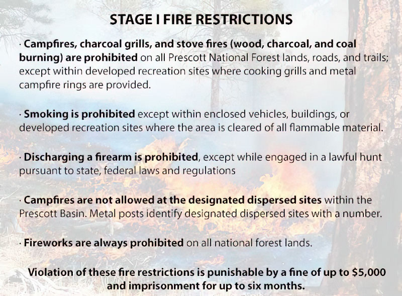 Prescott Forest, Yavapai County Return to Stage 1 Fire Restrictions